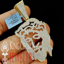 14K Yellow Gold Silver Lab Diamond Jesus Face Custom Piece Pendant Charm 2.85''