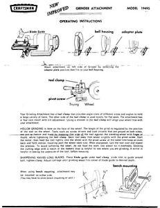 1970s Craftsman 09 19495 Bench Grinder Tool Sharpening
