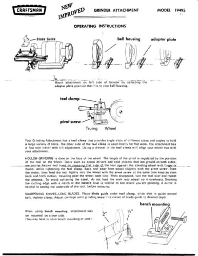 1970s Craftsman 09-19495  Bench Grinder Tool Sharpening Attachment Instructions