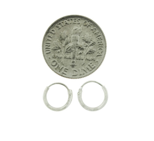 New Small Hoop Earrings in 925 Sterling Silver 8 mm wide 1.2 mm Thick