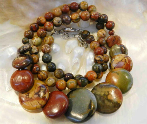 "6-20 mm Naturel Picasso Jasper Round//coin//Carré Perles Pendentifs Collier 18/"" AAA"