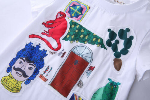 Boys Birds Print T-shirt Children Kids Summer Short Sleeve Tee Shirt Top