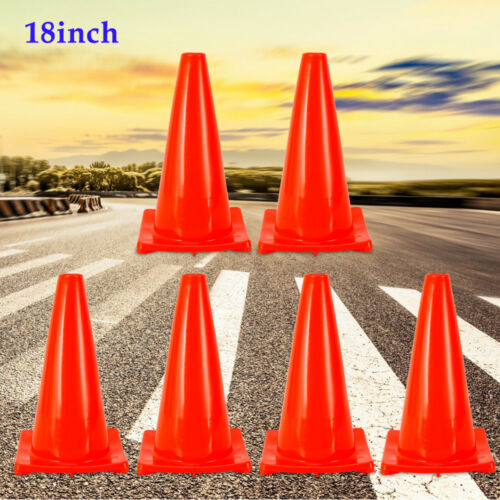 """6PACK 18/"""" Road Traffic Cones Safety Cones Barriers Superior Quality"""
