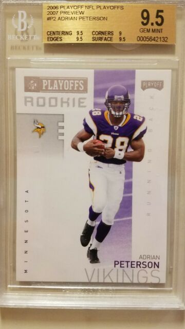 2006 Playoff Nfl Playoffs 2007 Preview P2 Adrian Peterson Rookie Card Bgs 95