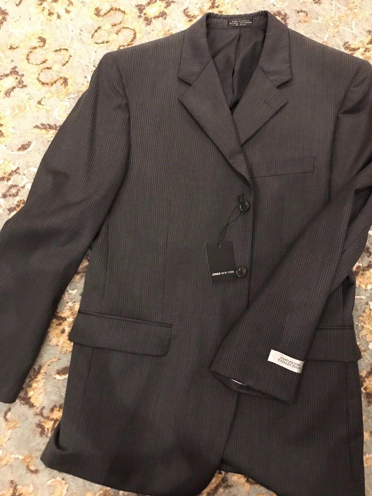 New - Jones New York  Herren Charcoal Pinstripe suit - Wool - 40R, 35W