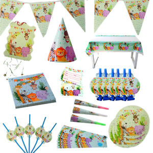 Children-Plates-Jungle-Animal-Party-Set-Disposable-Tableware-Birthday-Camping