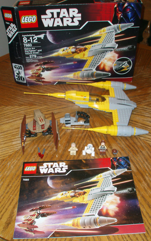 7660 NABOO STARFIGHTER VULTURE DROID DROID DROID star wars lego legos set box instructions 3ce1be