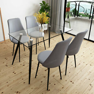 4 Swivel Chairs Set Kitchen Pu Leather
