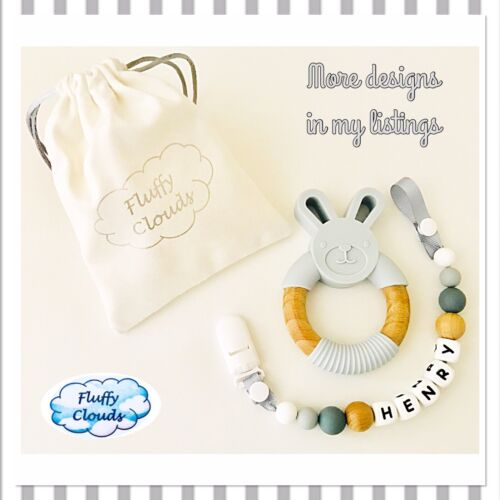Beech Wood Bead Baby Pacifier Soother Dummy Clip+Teether Set~ Boys Silicon
