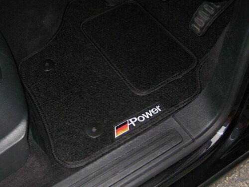 Car Mats In Black/Black - Mercedes-Benz CLK (2002-2009) + German Power Logos
