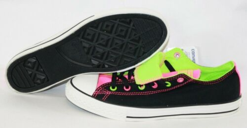 NEW Girls Youth CONVERSE 641190F Double Tongue Ox Black Pink Sneakers Shoes