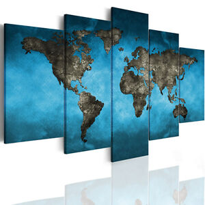 Framed modern world map canvas print photo abstract wall art home image is loading framed modern world map canvas print photo abstract gumiabroncs Images