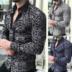 Mens-Fashion-Casual-Long-Sleeve-Shirt-Business-Slim-Fit-Shirt-Printed-Blouse-Top