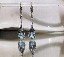Orecchini antichi con Aquamarin e sementi perle, oro 585/14k