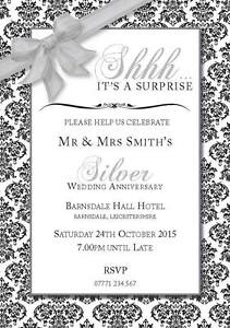 Details About PERSONALISED SURPRISE SILVER WEDDING PARTY INVITES Shh Invitations