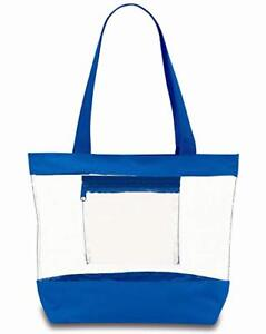NEW-Medium-Clear-Tote-Bag-with-Interior-Pocket-and-Zipper-Closure-Blue