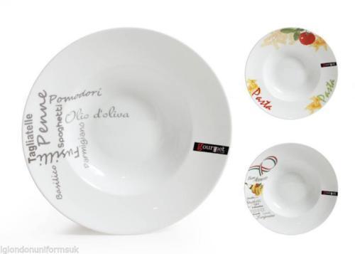 Boîte de 6-Semelle pâtes plaques de grands bols 30.5x6cm - blanc décoré en porcelaine