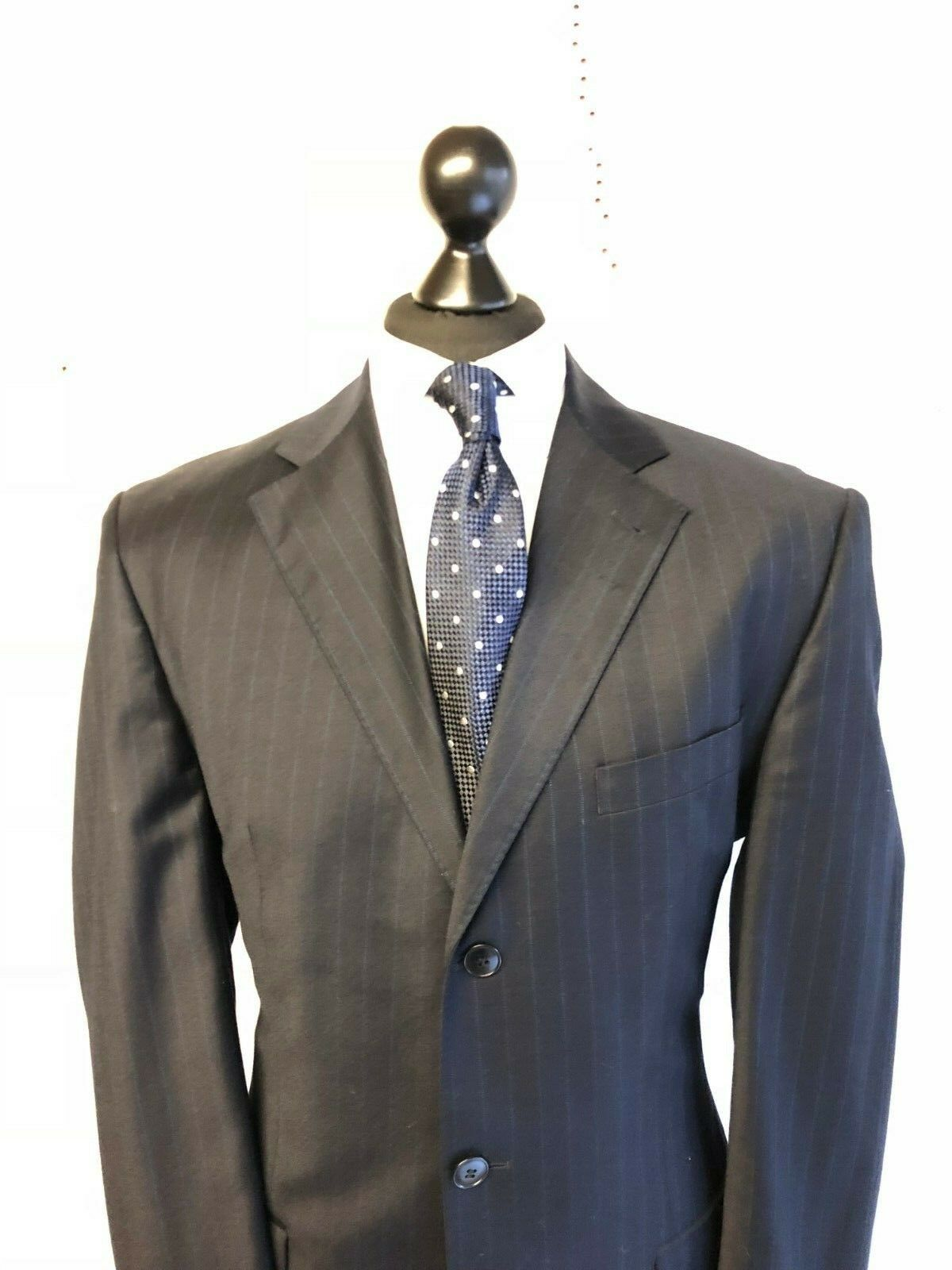 Tailored navy bluee pinstripe suit cashmere single breasted 2 piece suit 42L 36W