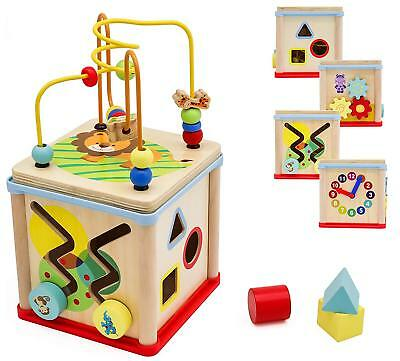 Pidoko Kids Wooden Activity Cube for Toddlers Toy Learning ...