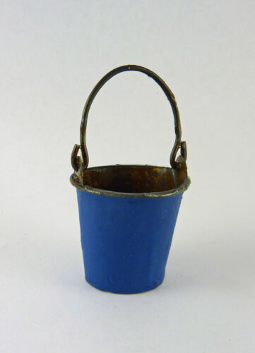 Closeout 01820 Dollhouse Miniature Fairy Garden Colorful Metal Bucket BLUE