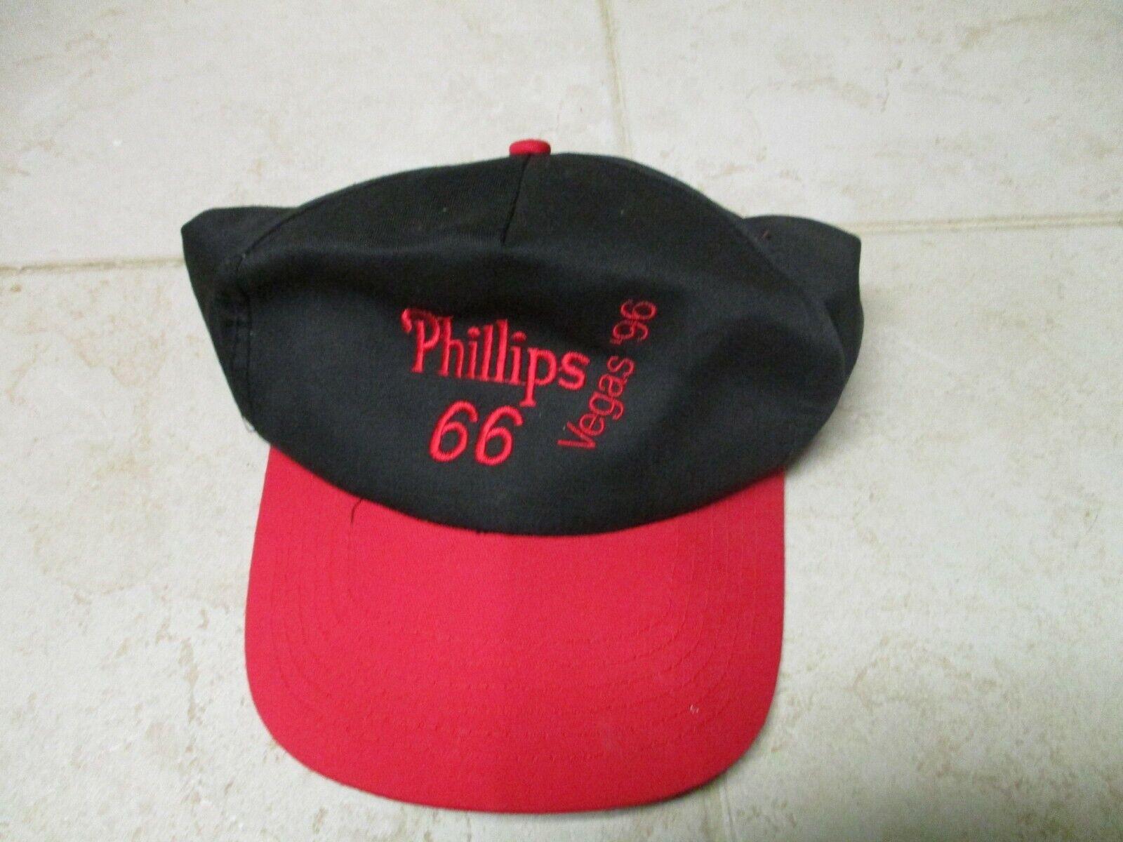 VTG Phillips 66 Vegas 96 Red Black Snapback Trucker Baseball Hat Cap Adjustable