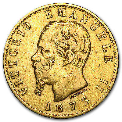 1861-1878 Italy Gold 20 Lire Vittorio Emanuele II Avg. Circ.
