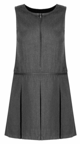 Girls Grey Pleated School Zip Pinafore Dress Teflon Uniform ages 4-13 yrs