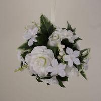 Kissing Ball 6 Pomander Gardenia Rose Wedding Silk Flowers 00249880001 White