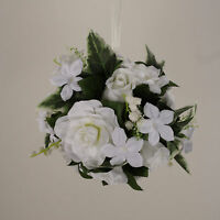 Kissing Ball 6 Pomander Gardenia Rose Wedding Silk Flowers 00249880001 White