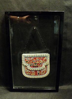 Frank Seltener Eingerahmt Antik Chinesisch Seide Geldbörse W / Forbidden Stitch
