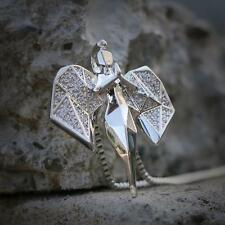 Silver Hip Hop Angel Pendant Iced Out With Box Chain