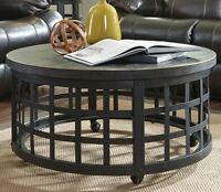 Industrial Coffee Table Rustic Round Living Room Furniture Cocktail Wheeled