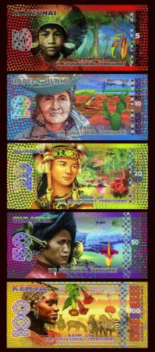 2014-2015 POLYMER 5;10;20;50;100 E Francs UNC SET Equatorial Territories