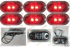 """6 NEW 3.25""""x1.75"""" CLEAR/RED LED SURFACE MOUNT CLEARANCE MARKER w/CHROME BEZEL"""