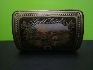 Vintage Gold Label Cigar Metal Tin Storage Container Gradiaz Annis New York