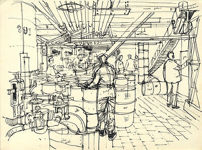 Paul Sharp - Mid 20th Century Pen and Ink Drawing, Drums