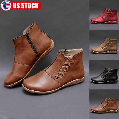 womens pu arch support ankle boots ladies lace up zip