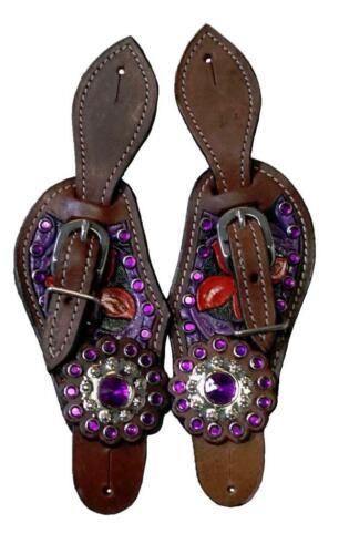 "Combo:Spurs /& Straps Kids Western 7~9/"" Pink Purple Black Blue Painted Filigree!"