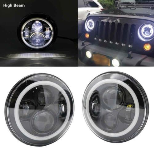2X 7Inch Round 80W LED Headlights Hi//Lo Beam for 97-17 JEEP JK TJ LJ Wrangler