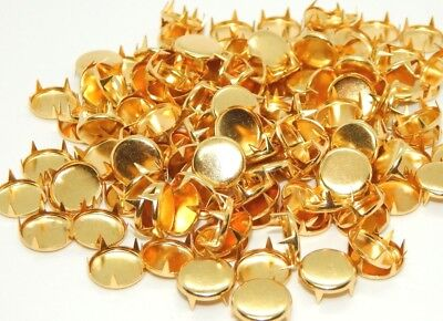 2352 11mm Gold Plated Round Studs For Leather or Fabric 144pcs.NEW
