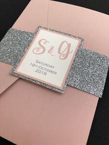 Details About Blush Pink Silver Glitter Pocket Fold Wedding Invitation Sample