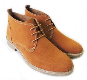 hombre sintética Chukka con cuero para forro zapatos de gamuza de cordones botines Nuevo aAq1OZ