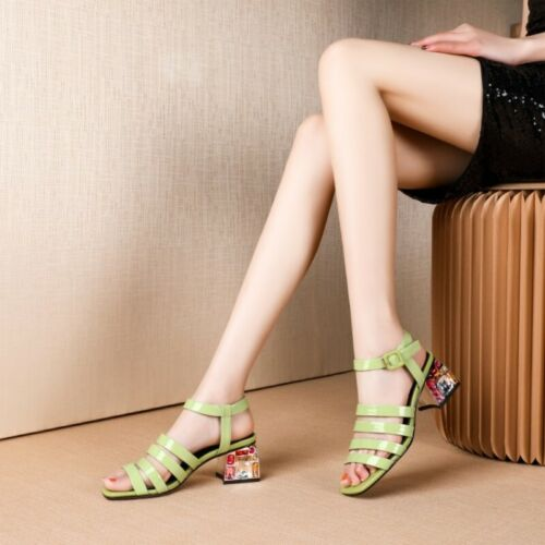 Lady/'s Bout Ouvert Boucle Sandales romaines chaussures herels Strass Talon Moyen Occident