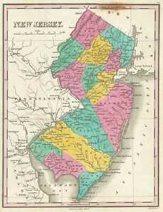 Details about 1828 Finley Map of New Jersey