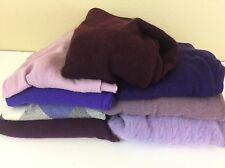100% Cashmere Cutter Sweaters Purple Solid Argyle Lot 8 Sweaters 3lbs PC2
