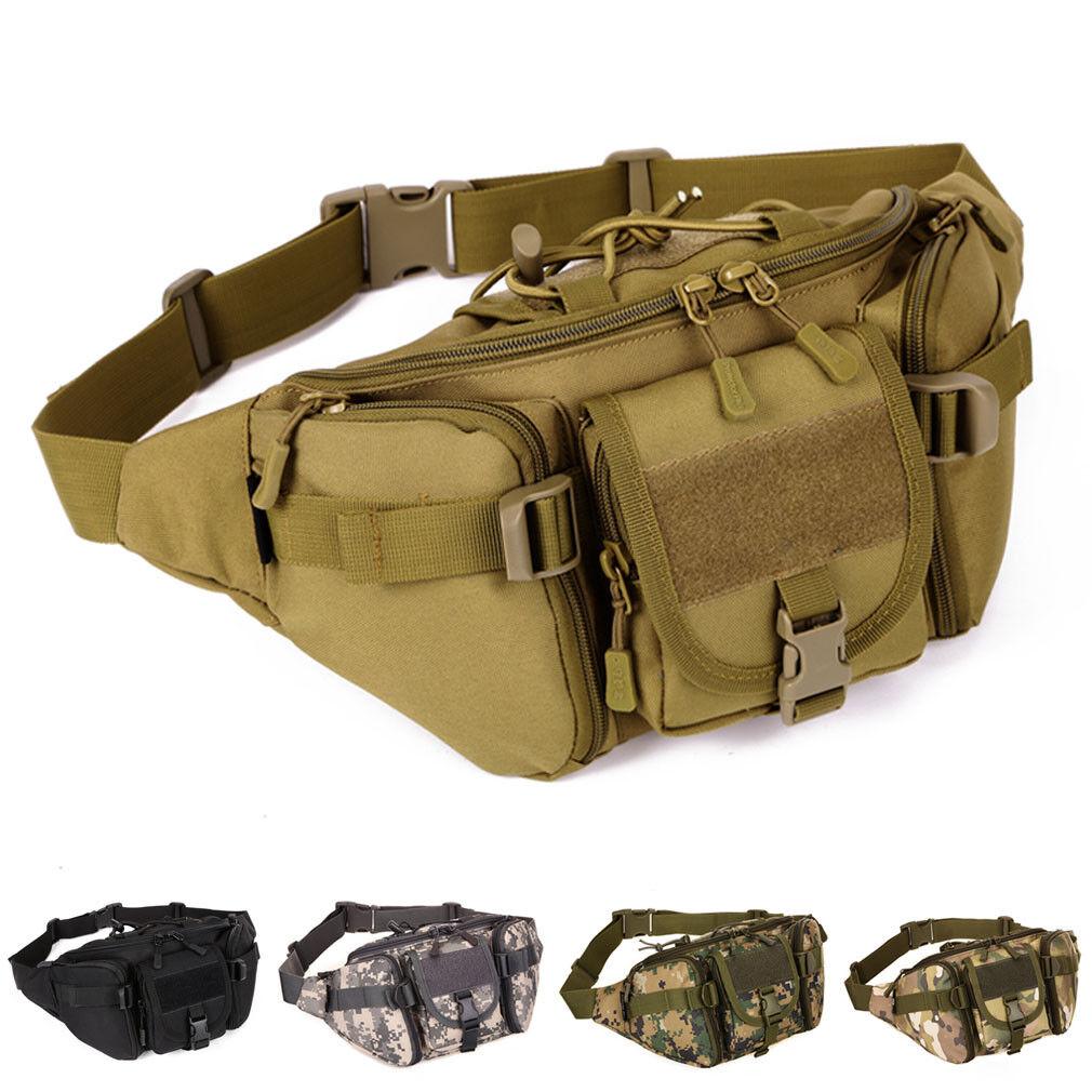 Poity Waist Bag Military Running Travel Waist Bum Belt Bag Fanny Pack Pouch Hip Zipper Purse Men Black