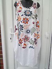 New Italian Lagenlook white  Floral cotton Sun Summer Dress top 16 18 20 22