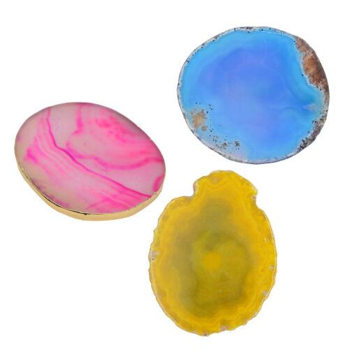 3 Satz Natürliche Achat Scheiben Gold Rand Geode Untersetzer Tasse Matte