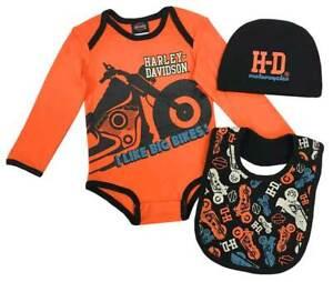Harley-Davidson-Baby-Boys-039-Bike-3-piece-Infant-Creeper-Set-w-Hat-amp-Bib-6-9M