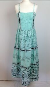 Blue-Port-Maxi-Dress-Size-2-UK-Size-14-Womens-Turquoise-Embroidery